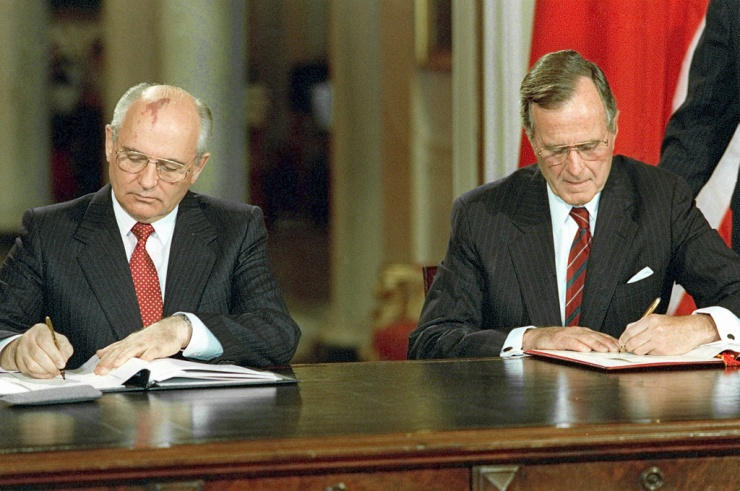 Президенты СССР и США М.С.Горбаев и Дж.Буш